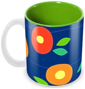 Tuelip Beautiful Cloth Pattern Ceramic Printed Mug for Tea And Coffee 350 ml