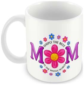 Tuelip Simply the best Mom Ceramic Printed Mug For Tea And Coffee 350 ml