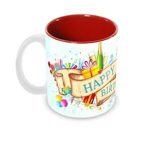 Tuelip Beautiful Happy Birthday Cheers Wishes Ceramic Printed Mug for Tea And Coffee 350 ml
