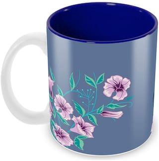 Tuelip Beautiful Purple Colour Flowers Pattern Mug Ceramic Printed Mug (350 ML)