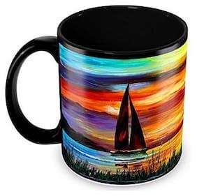 Tuelip Beautiful Painting of Nature Printed Full Black Tea and Coffee Ceramic Mug 350 ML