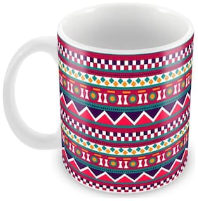 Tuelip Beautiful Printed Pink Abstract Pattern Tea & Coffee Ceramic Mug 350 ML