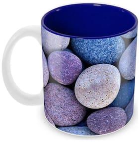 Tuelip Beautiful Colour Stone Printed inside Blue for Tea Mug and Coffee Mug Ceramic Mug 350 ML