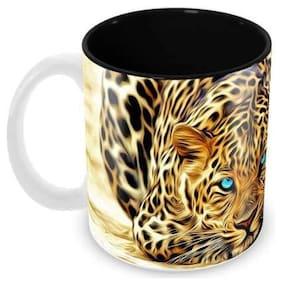Tuelip Beautiful Printed Leopard Inside Black Tea & Coffee Ceramic Mug 350 ML