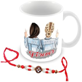 Tuelip best sister forever printed mug with rakhi for tea & coffee 350ml
