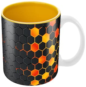 Tuelip Best Unique Design 'Spider Net Pattern' Ceramic Printed Mug for tea & coffee 350ml