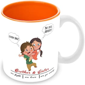 Tuelip 'Brother and Sister we Fight | we Love | we go Crazy Printed Ceramic Mug for Tea & Coffee 350ml-Valentine Day Gift Mug