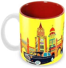 Tuelip Classic Printed Vintage Bombay Inside Red Tea and Coffee Ceramic Mug 350 ML