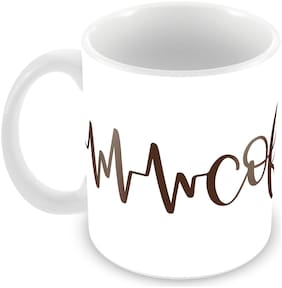 "Tuelip ""Coffee Heartbeat"" Printed Cup For Tea And Coffee 350 ML Ceramic Printed Mug"