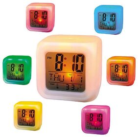 Tuelip Colour Changing Led Digital Alarm Clock With Date, Time, Temperature For Office Bedroom