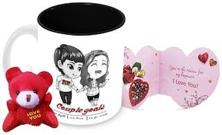 Tuelip Couple Goal Printed Ceramic Mug With Teddy Keychain And Greeting Card for Tea and Coffee (350 ml )-Valentine Day Gift Mug