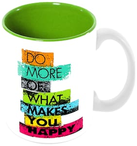 """Tuelip """"Do More Of What Makes You Happy"""" Best Quote Printed Ceramic Mug for Tea And Coffee (350 ml)"""