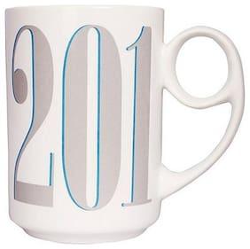 Tuelip Full White 9 Handle Pattern Ceramic Cup For Tea & Coffee Year 2019 Calendar Printed 400ML Ceramic Mug  (400 ml)