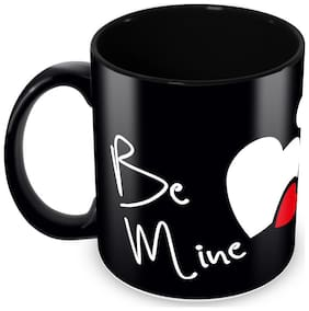 """Tuelip Full Black """"Be Mine"""" Printed Mug For Valentines Day Gift For Your Love One, Tea And Coffee 350 Ml Ceramic Mug"""