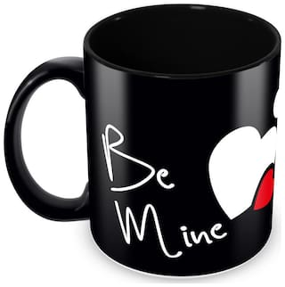 "Tuelip Full Black ""Be Mine"" Printed Mug For Valentines Day Gift For Your Love One, Tea And Coffee 350 Ml Ceramic Mug"
