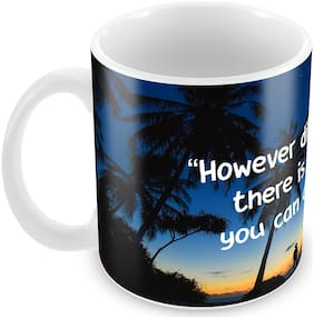 """Tuelip """"However Difficult Life May Seem, There is Always Something You Can Do and Succeed at"""" Quotes Printed Mug Ceramic Printed Mug 350 ML"""