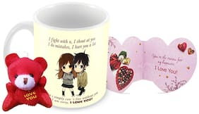 Tuelip I Fight With You Printed Ceramic Mug With Teddy Keychain And Greeting Card for Tea and Coffee (350 ml )-Valentine Day Gift Mug