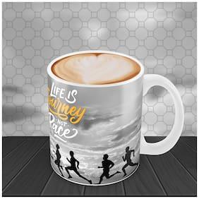 "Tuelip "" Life Is Journey "" Printed for tea & coffee Ceramic Mug ( 350Ml )"