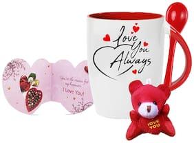 Tuelip Love U Always Printed Ceramic Spoon Mug With Teddy Keychain And Greeting Card for Tea and Coffee (350 ml )-Valentine Day Gift Mug