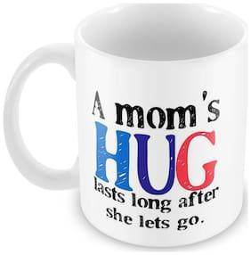 Tuelip Mom Hug Mug Classic Style Ceramic Printed Mug Tea And Coffee 350 ml