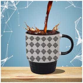"Tuelip ""Monochrome design"" Printed mug for tea & coffee Ceramic Mug ( Black, 250Ml )"