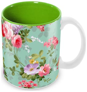Tuelip Most Beautiful Flower Printed Ceramic Mug for Tea And Coffee (350 ml)