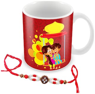 Tuelip My brother is one of the most precious gift send by god printed mug with rakhi for tea & coffee 350ml
