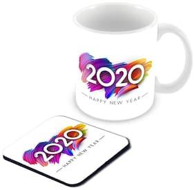 "Tuelip "" New Year 2020 "" Printed Ceramic Mug with Coaster for Tea & Coffee 350 ml ( White )"