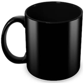 Tuelip Full Black Ceramic Plain Mug for Tea And Coffee 350 ml