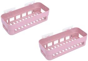 Tuelip Plastic Adhesive Multipurpose Kitchen Bathroom Corner Shelf (2Pcs) (Pink)