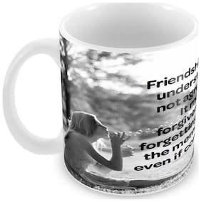 Tuelip Friendship Meaning Quotes Ceramic Printed Mug for Tea And Coffee 350 ml