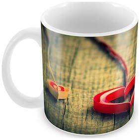 Tuelip Beautiful Craft Heart Ceramic Printed Mug for Tea And Coffee 350 ml