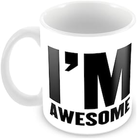 "Tuelip Printed ""I'm Awesome"" Tea and Coffee Ceramic Mug 350 ML"