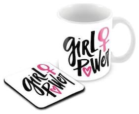 Tuelip Printed Girl Power Tea & Coffee Ceramic With Tea Coaster Combo Ceramic Mug  (350 ml)