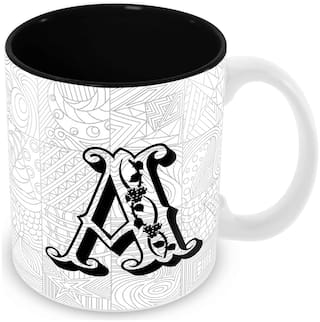 "Tuelip Printed Alphabet ""A"" Tea and Coffee Ceramic Mug 350 ML"