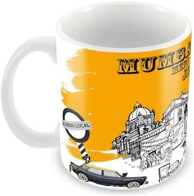 "Tuelip Printed Beautiful""Mumbai Meri Jaan"" Ceramic Tea and Coffee Ceramic Mug, 350ml, White"