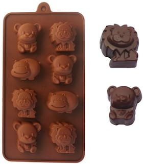 Tuelip Reusable Silicone Chocolate Mould / cake Mould (Animal Shapes), 8 Piece Baking Mould For Chocolate. Animal Shape Mould-Set of one
