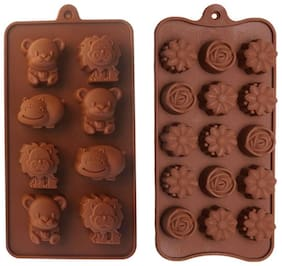 Tuelip Reusable Silicone Chocolate Mould / cake Mould (Flower Shape & Animals Shape), 23 Piece Baking Mould For Chocolate. Flower Shape & Animals Shape Mould-Set of 2