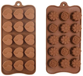 Tuelip Reusable Silicone Chocolate Mould / cake Mould (Flower Shape & Heart Shape), 30 Piece Baking Mould For Chocolate. Flower Shape & Heart Shape  Mould -Set of 2