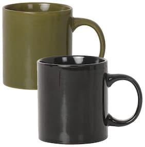 Tuelip Set of 2 Beautiful Plain Glossy Tea & Coffee 300 ml Ceramic Mug