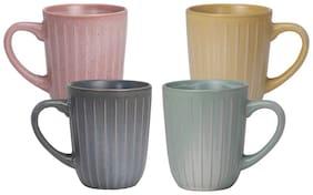 Tuelip Set of 4 Glossy Beautiful Double Shade Tea & Coffee 300ml Ceramic  Mug