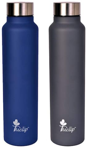 Tuelip Stainless Steel Grey & Blue Water Bottle ( 1000 ml , Set of 2 )