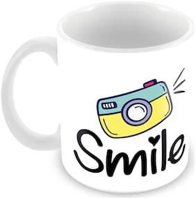 "Tuelip ""Smile"" Printed Mug Ceramic Mug 350 ML"