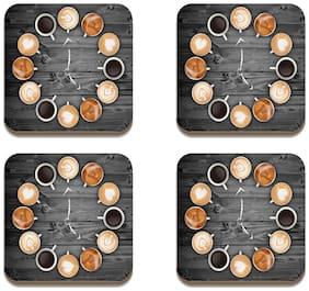 Tuelip Square Medium Density Fibreboard Tea Coaster Tea Cup Clock Printed Tea Coaster Set of 4