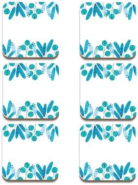 Tuelip Square Medium Density Fibreboard Flowers Background In Watercolor Style Printed Tea Coaster Set of 6