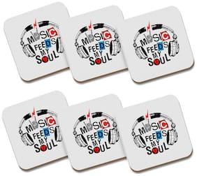 Tuelip Square Medium Density Fibreboard Tea Coaster Music Feeds My Soul Printed Tea Coaster Set Of 6