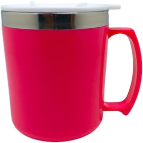 Tuelip Stainless Steel Tea And Coffee Travel  Mug With Sipper Lid 400 ML Pink