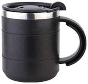 Tuelip Stainless Steel Insulated Coffee Tea Water Travel Mug Cup with Sipper Lid 400 ml Black