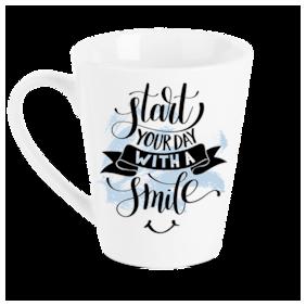 "Tuelip ""Start Your Day With Smile "" Printed mug for tea & coffee Conical Ceramic mug. ( 320 ml )"