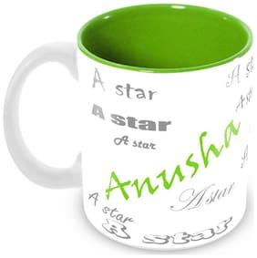 Tuelip Stylish Customize Name Anusha with Meaningful Ceramic Printed Mug Tea & Coffee 350 ml
